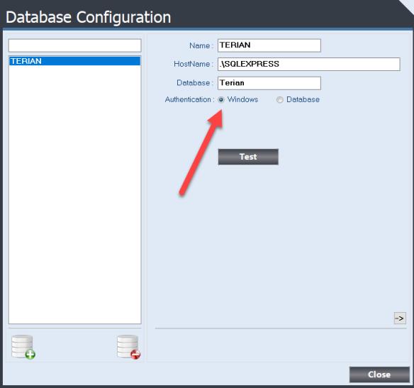 Database Configuration Form