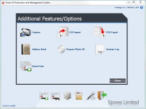 Terian ID Production and Management System Additional Features/Options Screen
