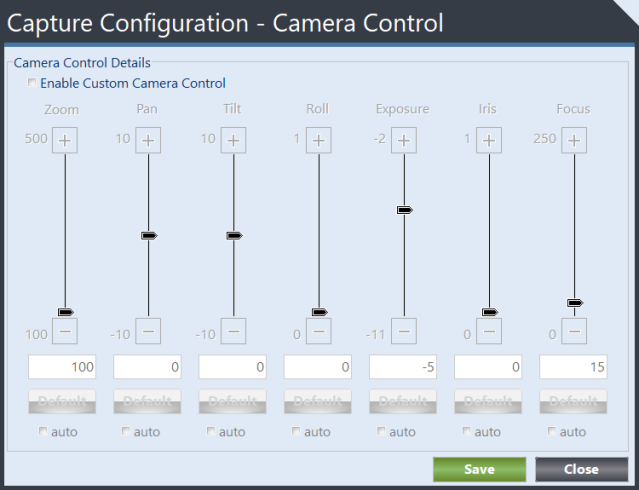 Capture Camera Control form