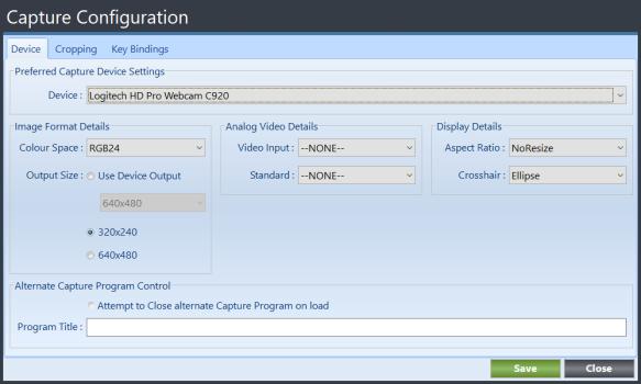 Terian IDC Capture Configuration Dialog Box