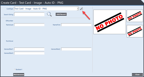 Terian IDC Create Card form highlighting CardType Configuration button