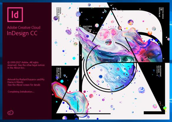 Adobe Indesign CC 2018 Title Screen