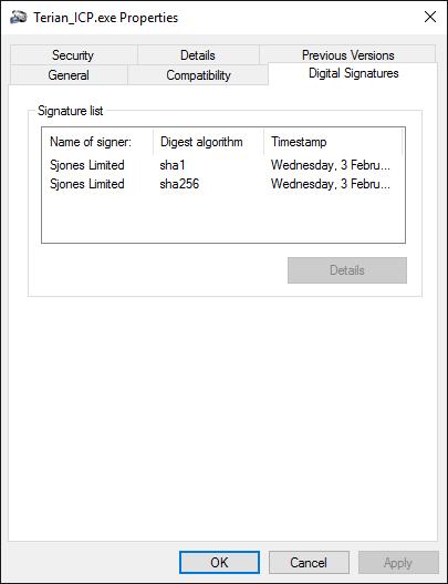 Terian ICP Properties Dialog displaying SHA1, and SHA256 Digital Signatures