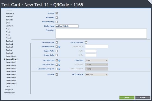 General Text Field QR Code Configuration