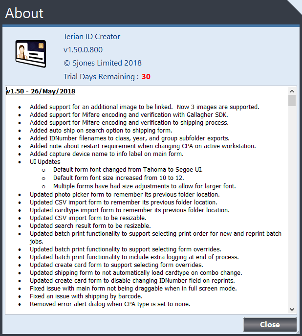 Terian IDC v1.50 Changelog