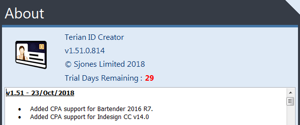 Terian ID Creator About Dialog v1.51