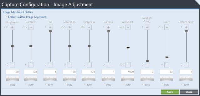 Capture Image Adjustment form